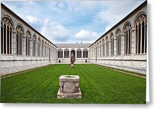 Pisa Greeting Cards - Cemetery at Cathedral Square in Pisa Italy Greeting Card by Susan  Schmitz