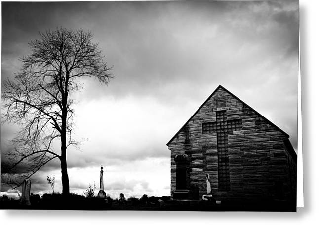 Headstones Greeting Cards - Cemetery Chapel Greeting Card by Off The Beaten Path Photography - Andrew Alexander