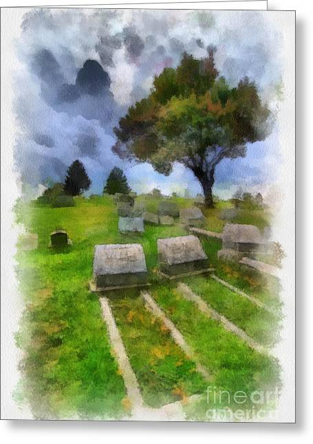 Headstones Greeting Cards - Cemetery Clouds Greeting Card by Amy Cicconi