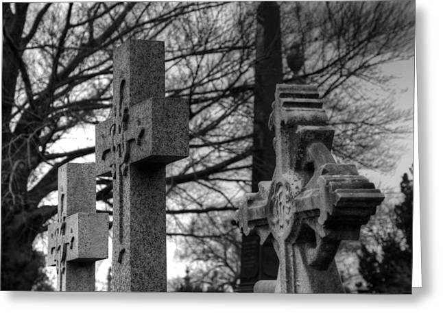 Old Greeting Cards - Cemetery Crosses Greeting Card by Jennifer Lyon
