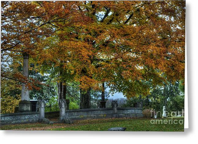 Hdr Landscape Greeting Cards - Cemetery fall foilage Greeting Card by Joseph Ciferno Jr
