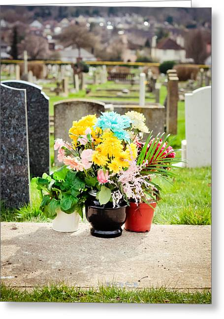 Condolences Greeting Cards - Cemetery Flowers Greeting Card by Tom Gowanlock