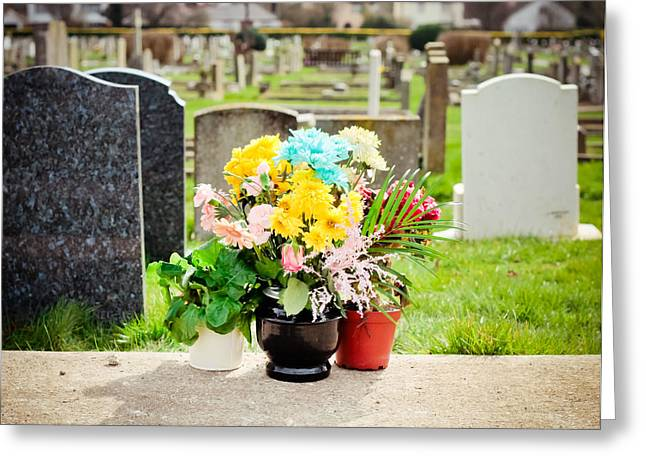Cemetery Flowers Greeting Card by Tom Gowanlock