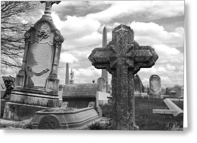 Creepy Greeting Cards - Cemetery graves Greeting Card by Jennifer Lyon