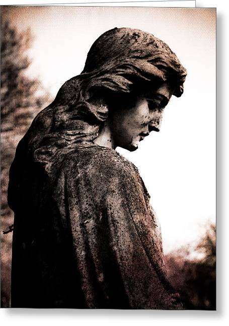 Religious Art Digital Art Greeting Cards - Cemetery Grief Greeting Card by Sonja Quintero