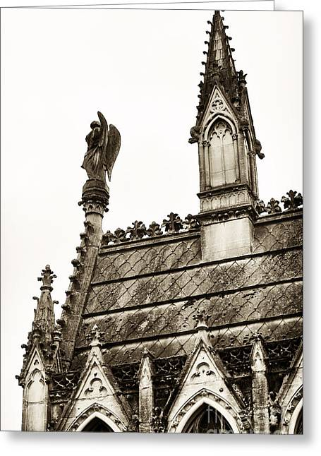 Cemeteries Of Paris Greeting Cards - Cemetery Guardian Greeting Card by John Rizzuto