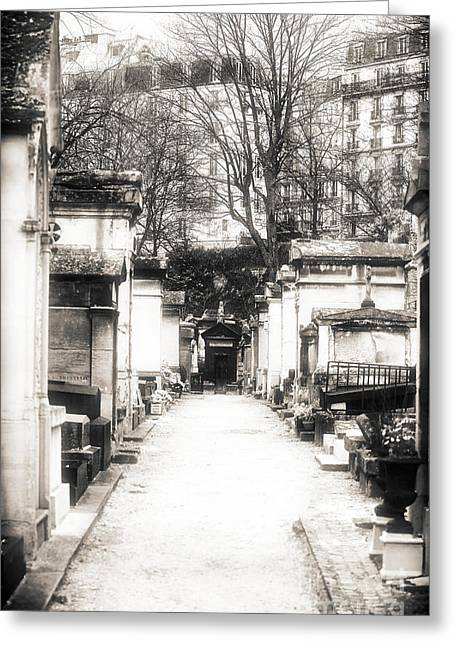 Cemeteries Of Paris Greeting Cards - Cemetery Haze Greeting Card by John Rizzuto