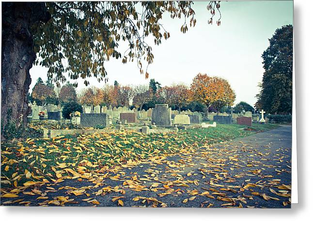 Woodland Scenes Greeting Cards - Cemetery in autumn Greeting Card by Tom Gowanlock