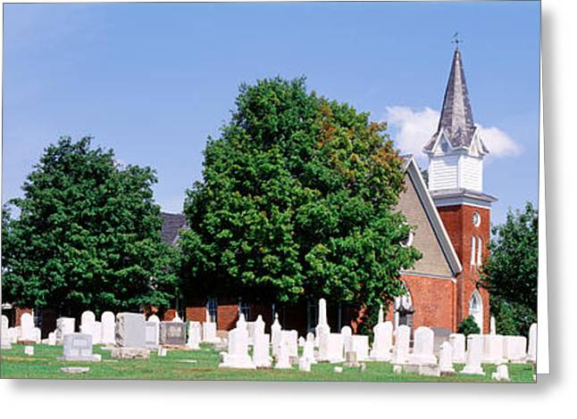 Place Of Burial Greeting Cards - Cemetery In Front Of A Church Greeting Card by Panoramic Images