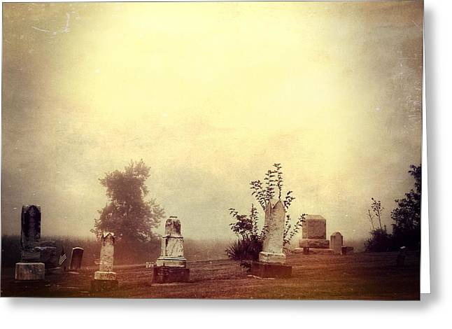 Gravesite Greeting Cards - Cemetery In The Fog Greeting Card by Dan Sproul