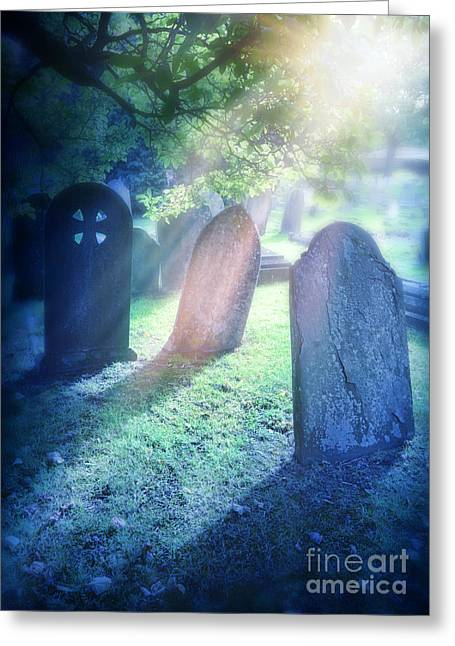 Headstones Greeting Cards - Cemetery Light Greeting Card by Jill Battaglia