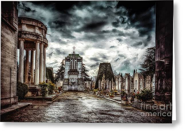 Evil Place Greeting Cards - Cemetery of Mantova  Greeting Card by Traven Milovich