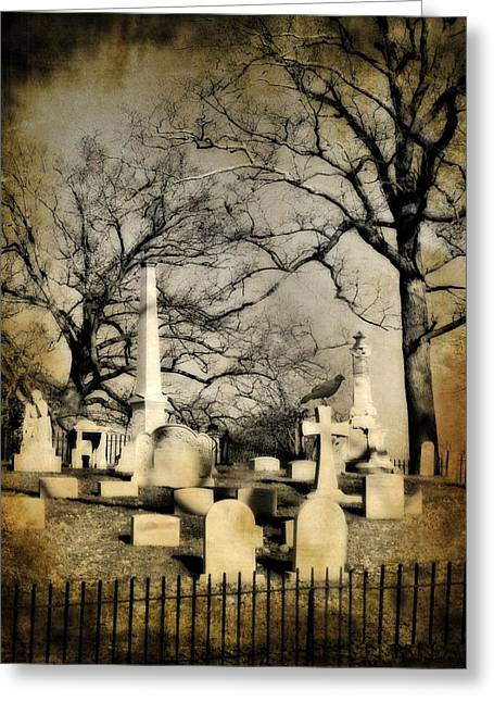 Spooky Digital Art Greeting Cards - Cemetery Shades Greeting Card by Gothicolors Donna Snyder