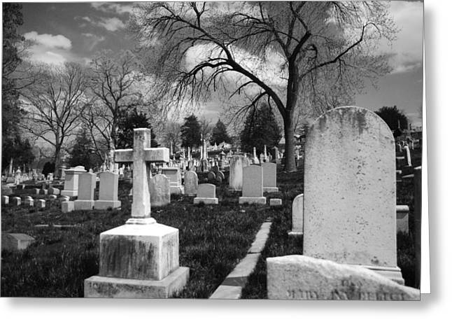 Bleak Greeting Cards - Cemetery Solitude Greeting Card by Jennifer Lyon