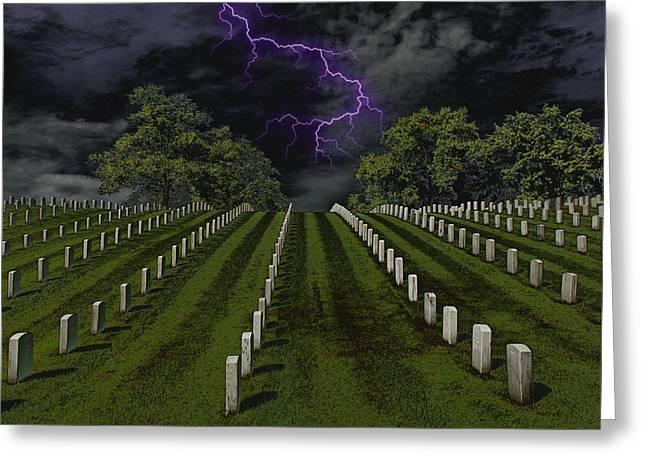 Barrack Digital Greeting Cards - Cemetery Spook Greeting Card by Bill Tiepelman