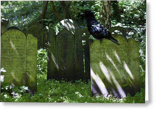 Cemetery with Ancient Gravestones and Black Crow  Greeting Card by Nomad Art And  Design