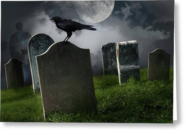 Gothic Cross Greeting Cards - Cemetery with old gravestones and moon Greeting Card by Sandra Cunningham