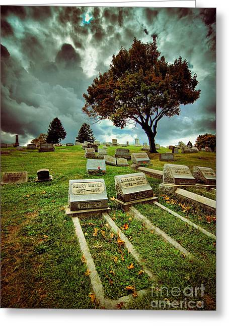 Afterlife Greeting Cards - Cemetery with Ominous Sky Greeting Card by Amy Cicconi