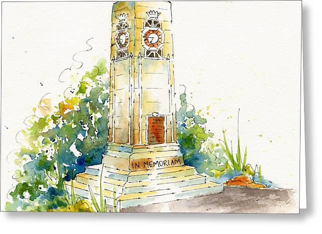 War Memorial Paintings Greeting Cards - Cenotaph Clock Tower Greeting Card by Pat Katz