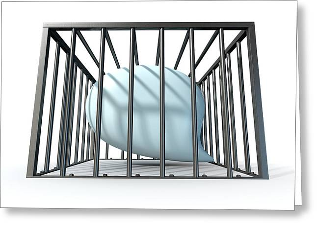 Confined Greeting Cards - Censorship Of Speech Caged Greeting Card by Allan Swart