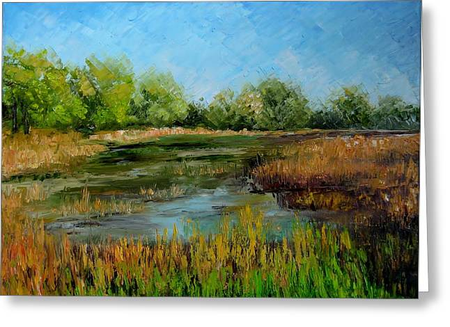 Pond In Park Mixed Media Greeting Cards - Centenial Park Greeting Card by Saima  Naveed