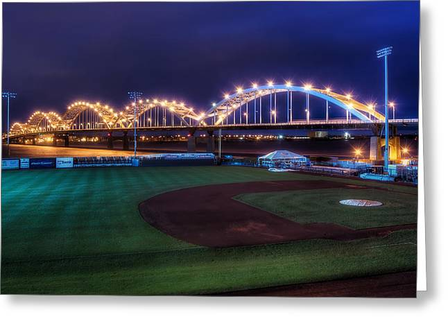 Centennial Bridge and Modern Woodmen Park Greeting Card by Scott Norris