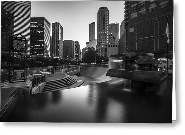 Hyatt Hotel Greeting Cards - Centennial fountain in black and white Greeting Card by Sven Brogren