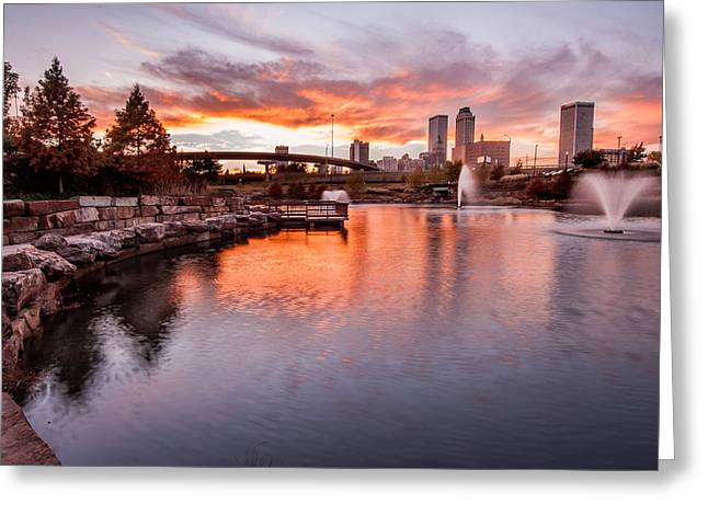 Most Popular Photographs Greeting Cards - Centennial Park Sunset - Tulsa Oklahoma Greeting Card by Gregory Ballos