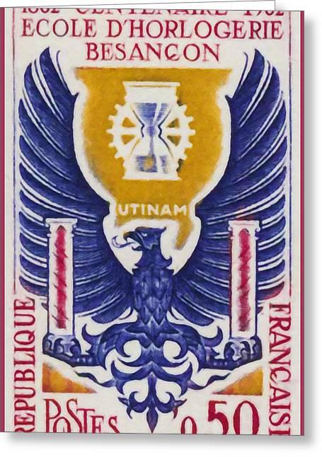 Besancon Greeting Cards - Centennial School Watch Besancon 1862-1962 Utinam Greeting Card by Lanjee Chee