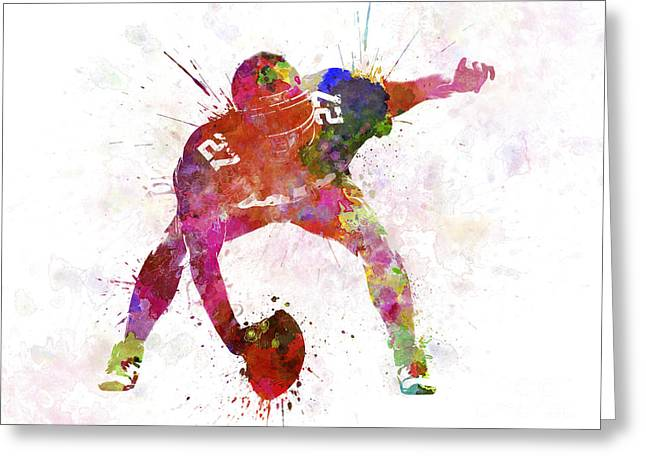 American Football Paintings Greeting Cards - Center American Football Player Man Greeting Card by Pablo Romero