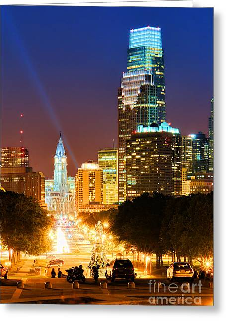 American Art Museum Greeting Cards - Center City Philadelphia Night Greeting Card by Olivier Le Queinec