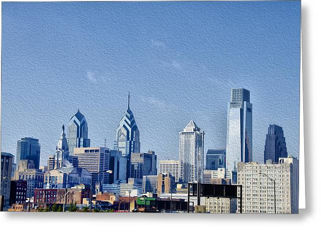 Center City Digital Greeting Cards - Center City Skyline Greeting Card by Bill Cannon