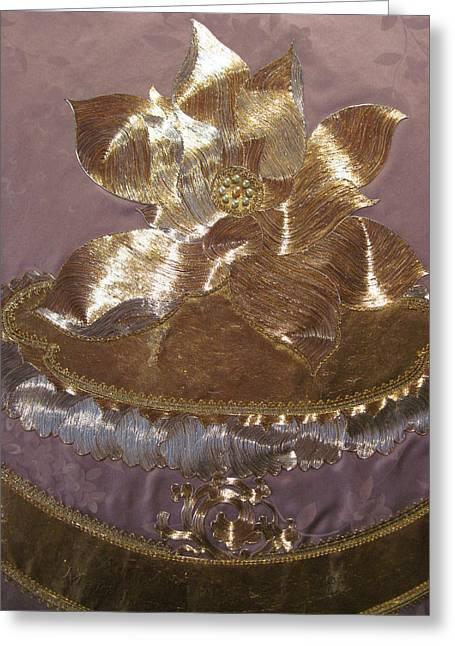 Metallic Tapestries - Textiles Greeting Cards - Center detail AT Lotus Greeting Card by Dan A  Barker