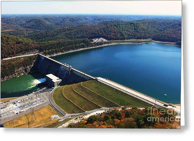 The Nature Center Greeting Cards - Center Hill Dam Greeting Card by Louis Colombarini