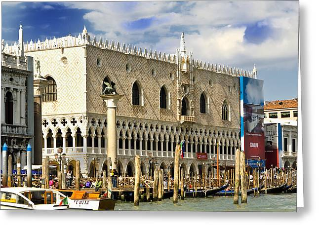 The Piazza Greeting Cards - Center of Venice - Doges Palace Greeting Card by Jon Berghoff