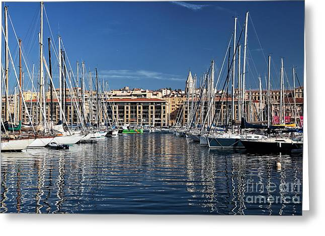 Sailboat Photos Greeting Cards - Centered in the Port Greeting Card by John Rizzuto