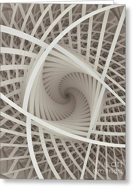 Abstractions Greeting Cards - Centered White Spiral-Fractal Art Greeting Card by Karin Kuhlmann