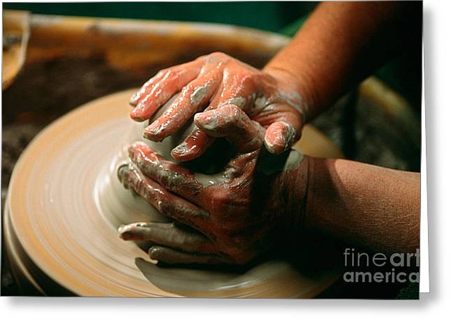 Pottery Wheel Greeting Cards - Centering Clay Greeting Card by James L. Amos