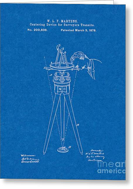 Centering Greeting Cards - Centering Device For Surveyors Transits Patent - Blueprint Greeting Card by BJ Simpson