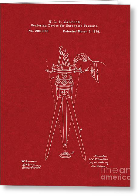 Centering Greeting Cards - Centering Device For Surveyors Transits Patent - Burgundy Red Greeting Card by BJ Simpson