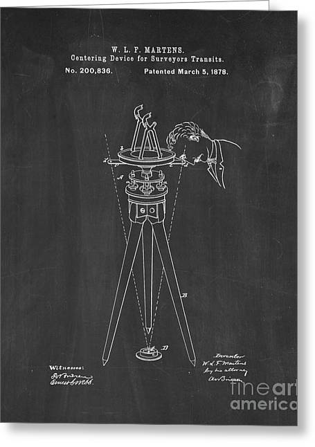 Centering Greeting Cards - Centering Device For Surveyors Transits Patent - Chalkboard Greeting Card by BJ Simpson