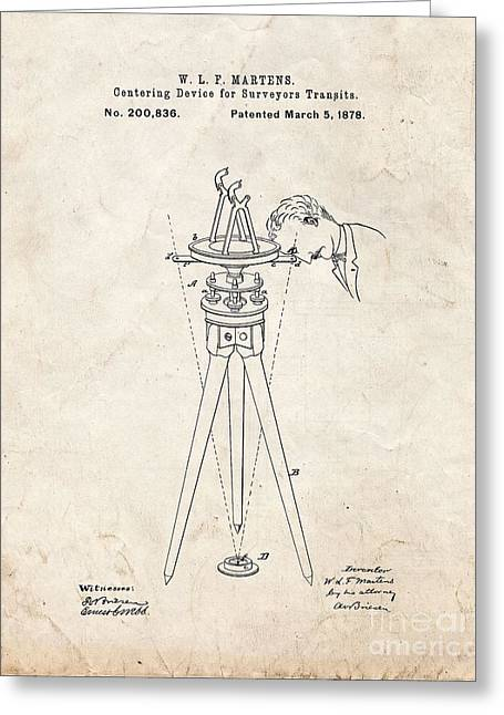 Centering Greeting Cards - Centering Device For Surveyors Transits Patent - Old Look Greeting Card by BJ Simpson