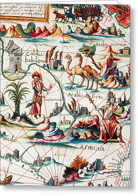 Babylonia Greeting Cards - Central Asia Pierre Descelierss Map Greeting Card by Photo Researchers