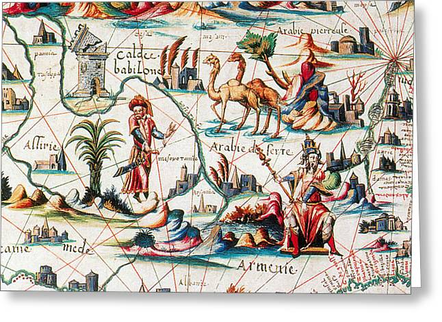 Central Asia Pierre Descelierss Map Greeting Card by Photo Researchers