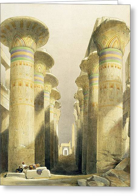 Ruins Paintings Greeting Cards - Central Avenue of the Great Hall of Columns Greeting Card by David Roberts