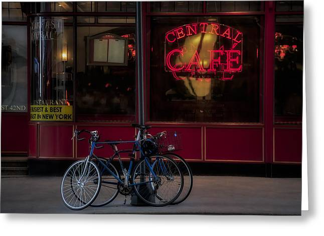 Coffee Drinking Greeting Cards - Central Cafe Bicycles Greeting Card by Susan Candelario