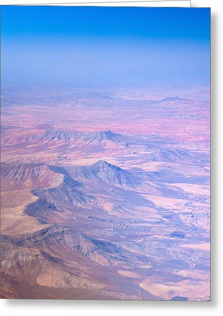 Geologically Greeting Cards - central Fuerteventura from the air Greeting Card by Tamara Kulikova
