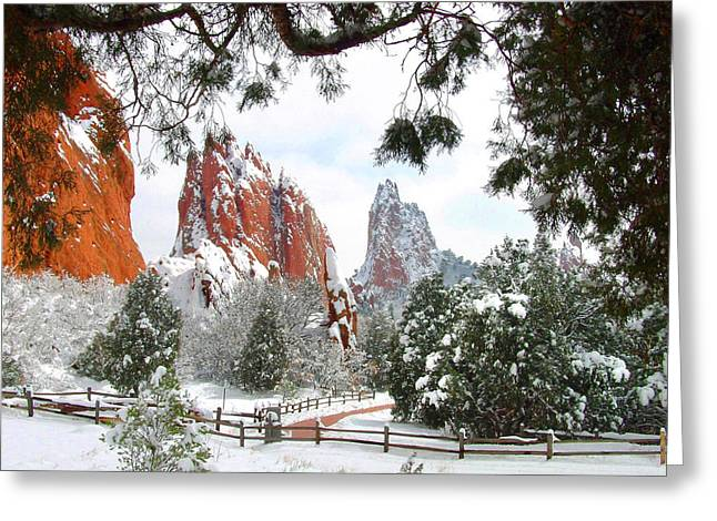 Monolith Greeting Cards - Central Garden of the Gods after a Fresh Snowfall Greeting Card by John Hoffman