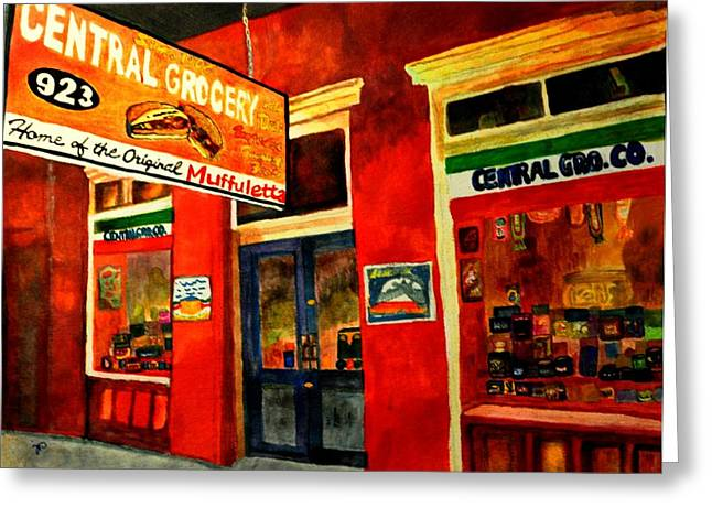Deli Drawings Greeting Cards - Central Grocery Greeting Card by Jill Jacobs