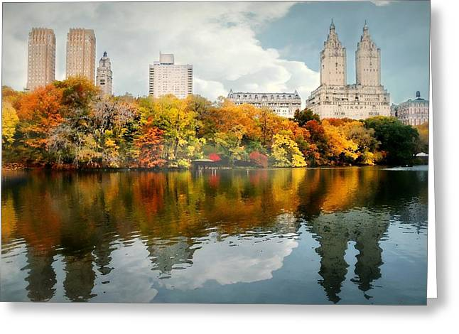 Pond In Park Photographs Greeting Cards - Central Park #1 Greeting Card by Diana Angstadt